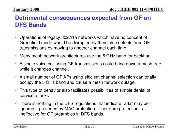 Detrimental consequences expected from GF on DFS Bands