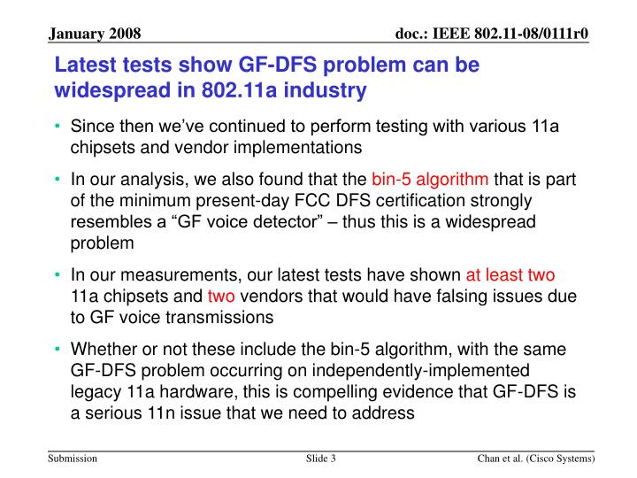 Latest tests show gf dfs problem can be widespread in 802 11a industry