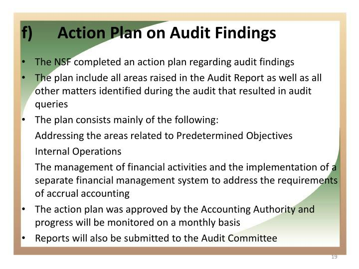 Action Plan on Audit Findings