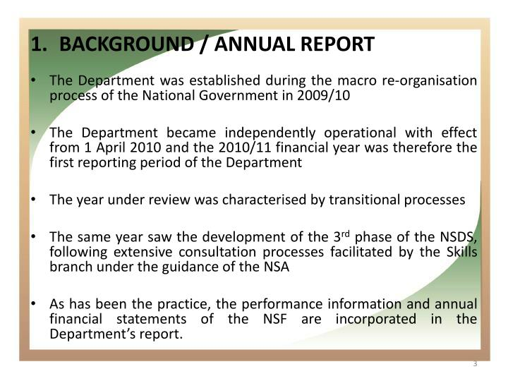 Background annual report