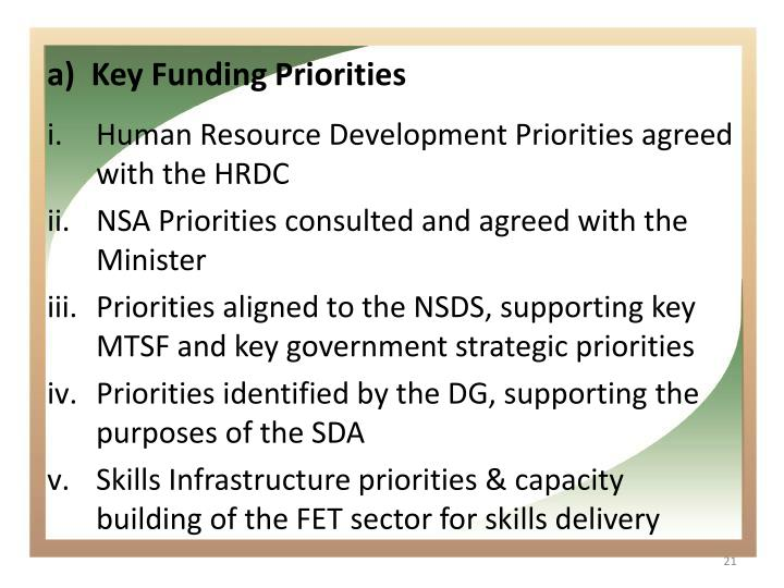 Key Funding Priorities