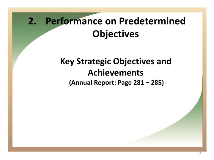 Performance on Predetermined Objectives