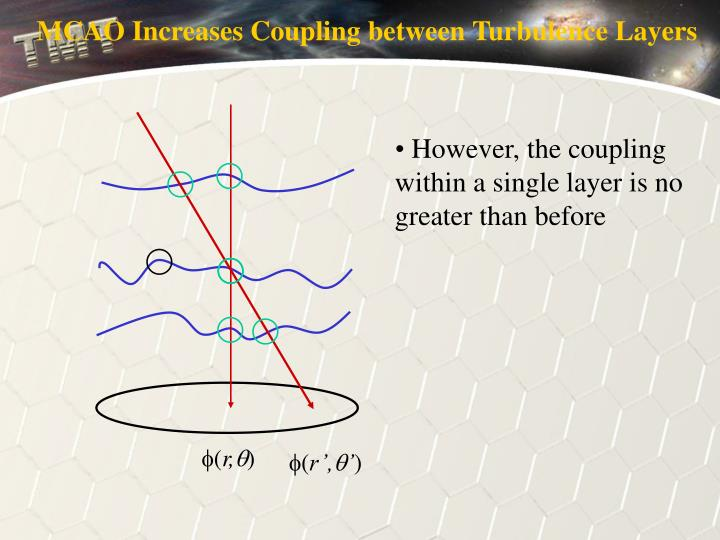 MCAO Increases Coupling between Turbulence Layers