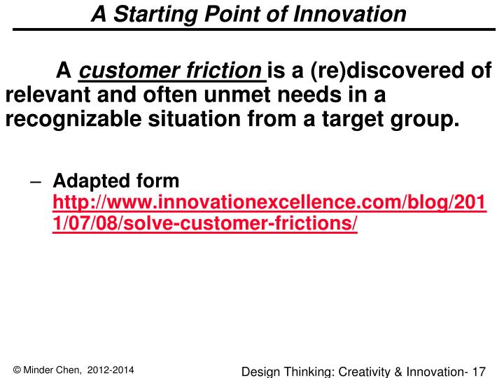 A Starting Point of Innovation