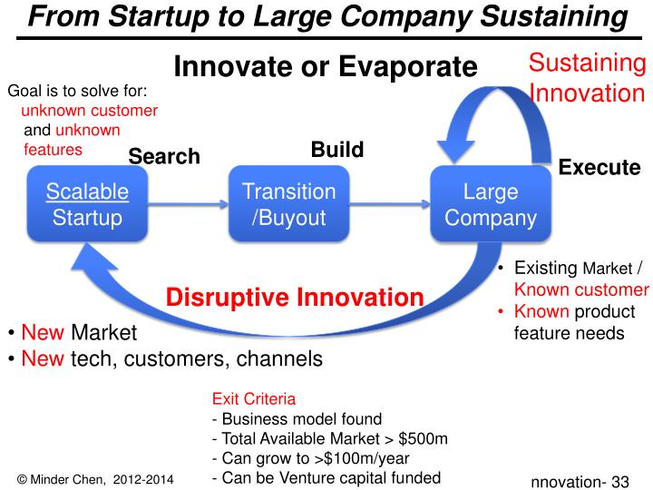 From Startup to Large Company Sustaining