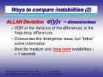 ways to compare instabilities 2