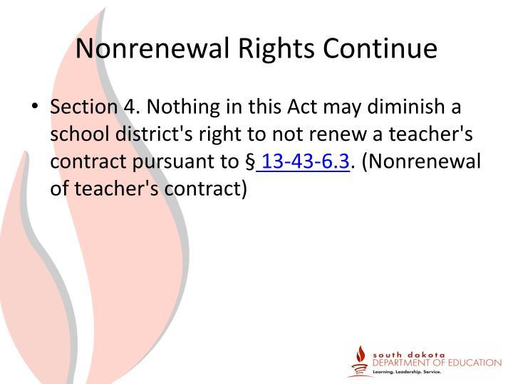 Nonrenewal Rights Continue