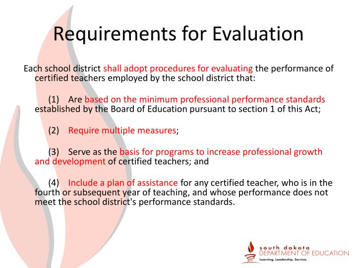 Requirements for Evaluation