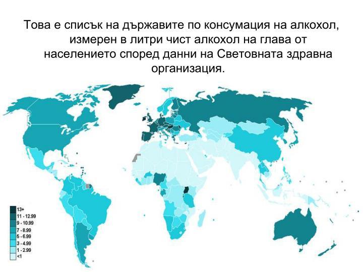 Това е списък на държавите по консумация на алкохол, измерен в литри чист алкохол на глава от населението според данни на Световната здравна организация.
