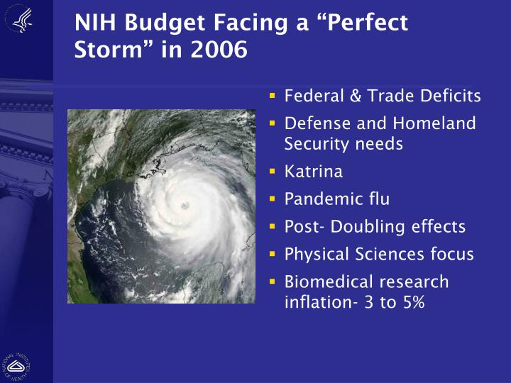 Nih budget facing a perfect storm in 2006