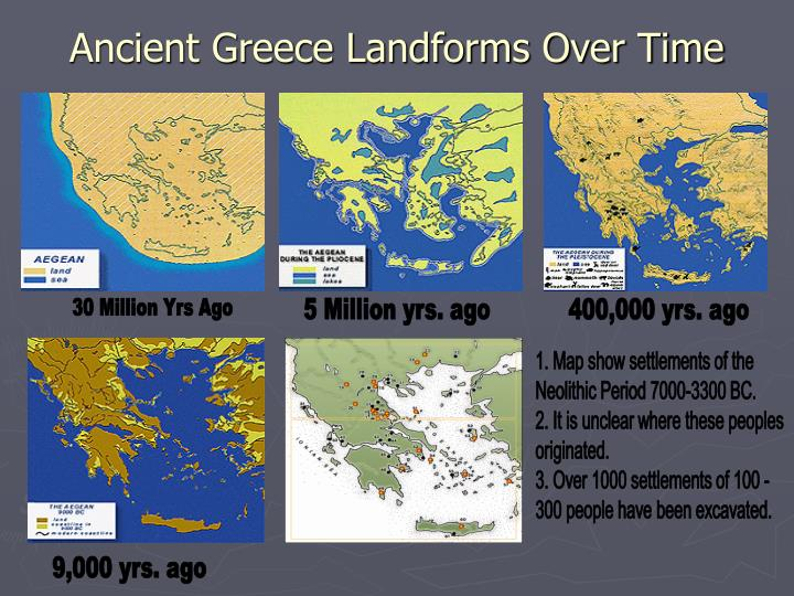 Ancient greece landforms over time