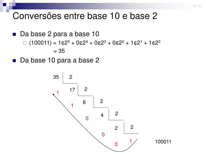 Convers es entre base 10 e base 2
