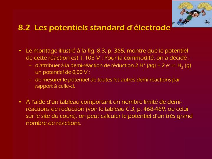 8.2  Les potentiels standard d'électrode