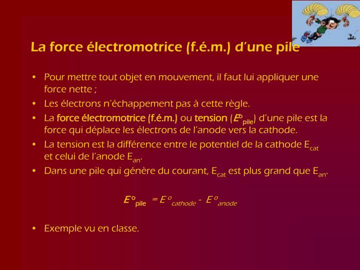 La force électromotrice (f.é.m.) d'une pile