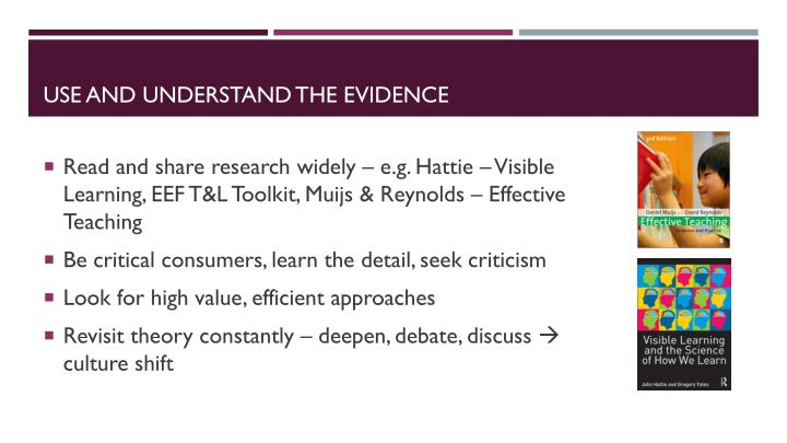 Use and understand the evidence