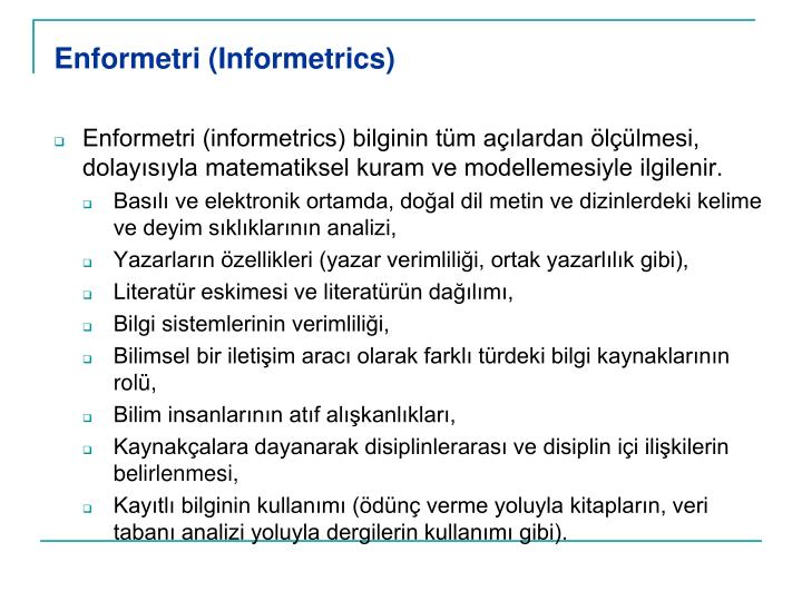 Enformetri (Informetrics)