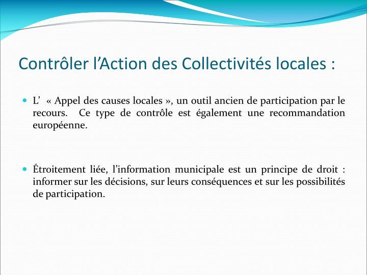 Contrôler l'Action des Collectivités locales :