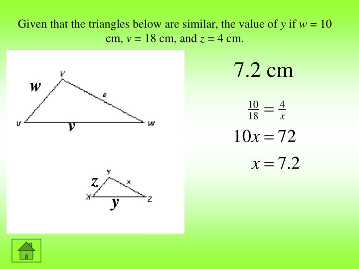 Given that the triangles below are similar, the value of