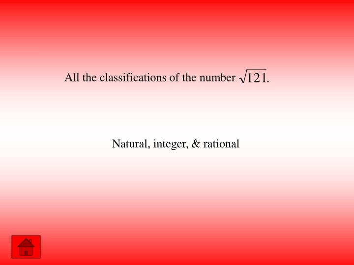 All the classifications of the number