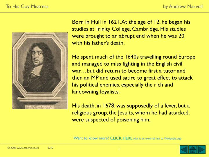 an analysis of philosophy in the poem to his coy mistress by andrew marvell Critical appreciation of marvel's to his coy mistress /the andrew marvell presents spiritual love in his in his essays a critical analysis of poem no.