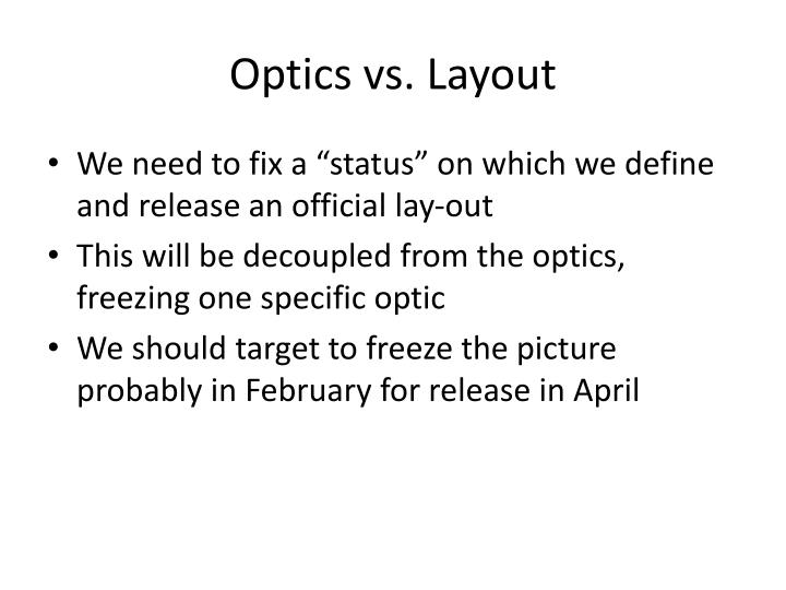 Optics vs layout