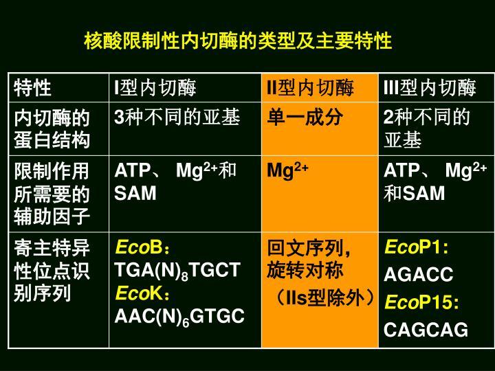 核酸限制性内切酶的类型及主要特性