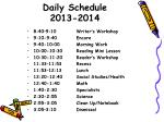 daily schedule 2013 2014
