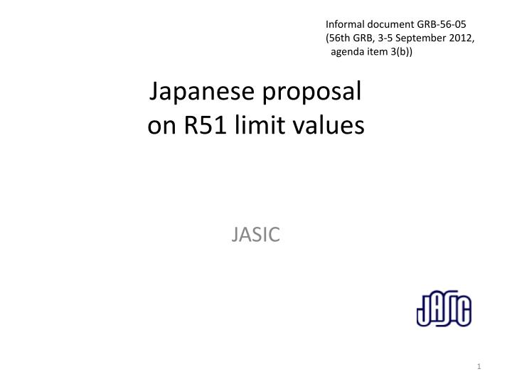 japanese proposal on r51 limit values n.