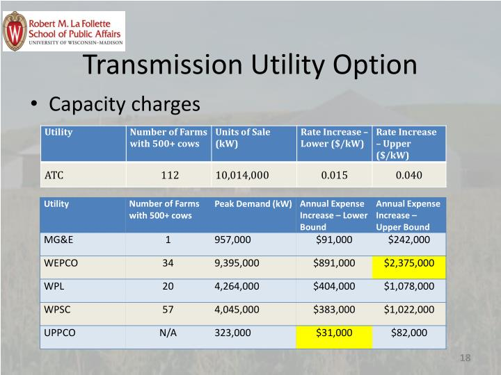 Transmission Utility Option