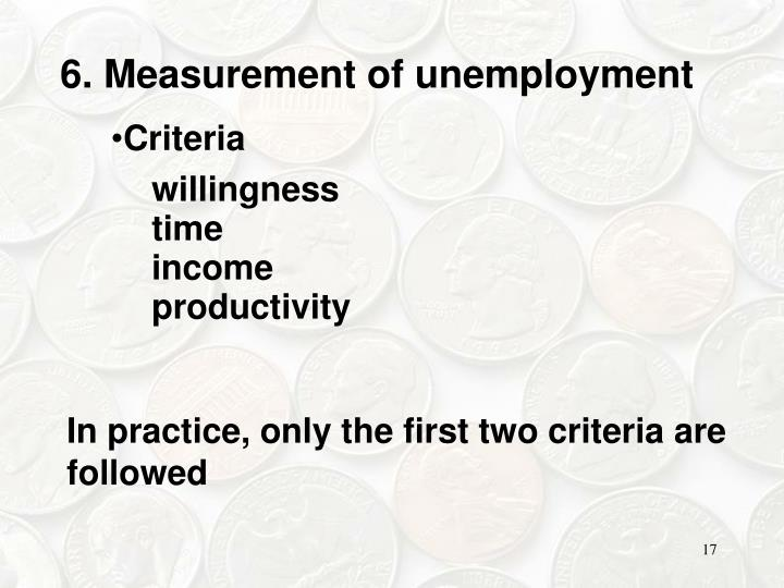 6. Measurement of unemployment