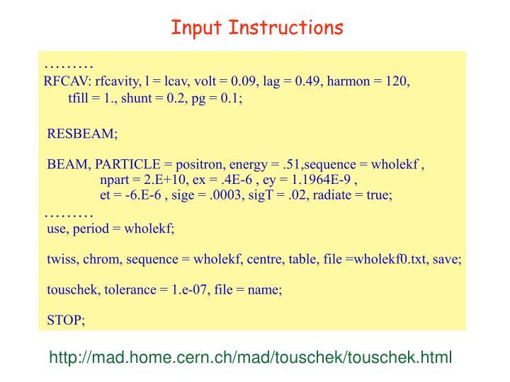 Input Instructions