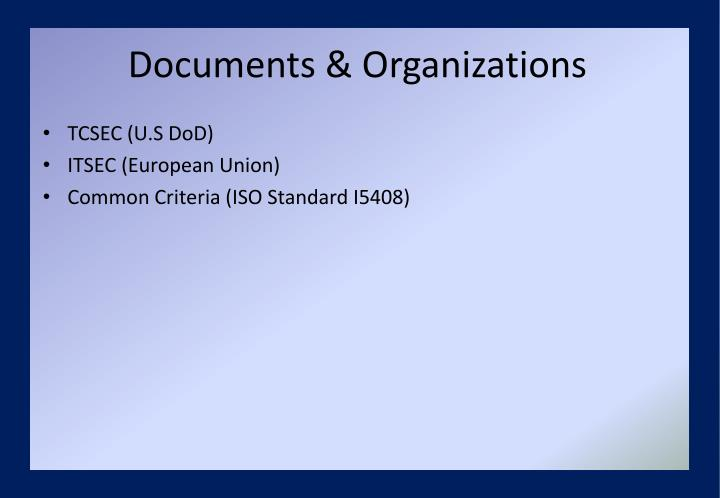 Documents & Organizations