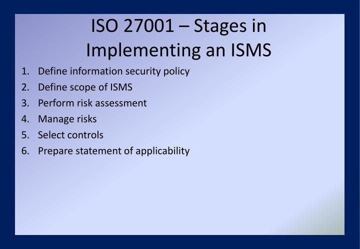 ISO 27001 – Stages in