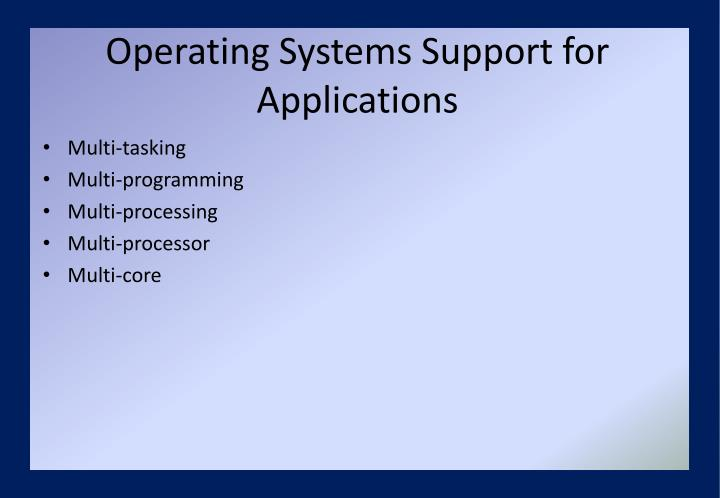 Operating Systems Support for Applications