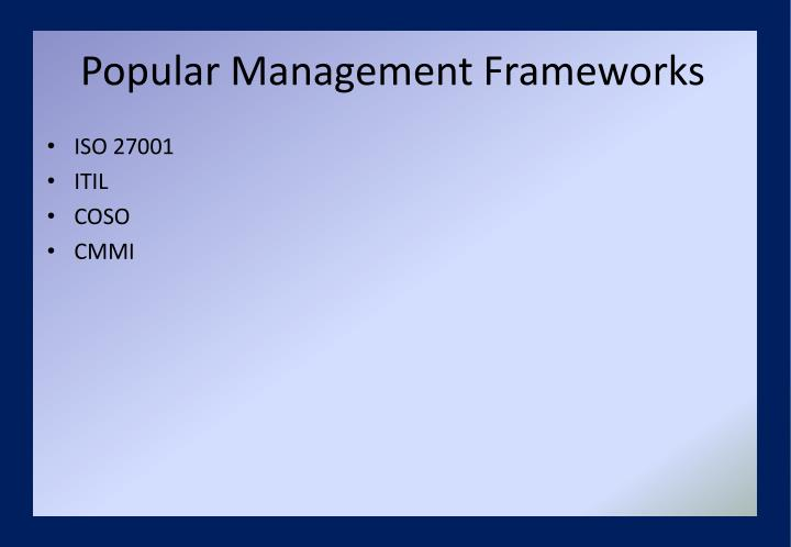 Popular Management Frameworks