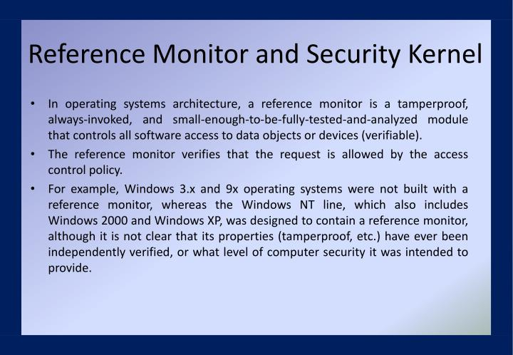Reference Monitor and Security Kernel