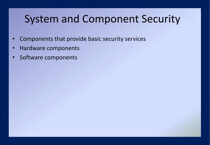 System and Component Security