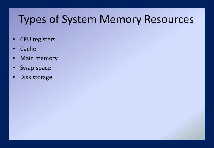 Types of System Memory Resources
