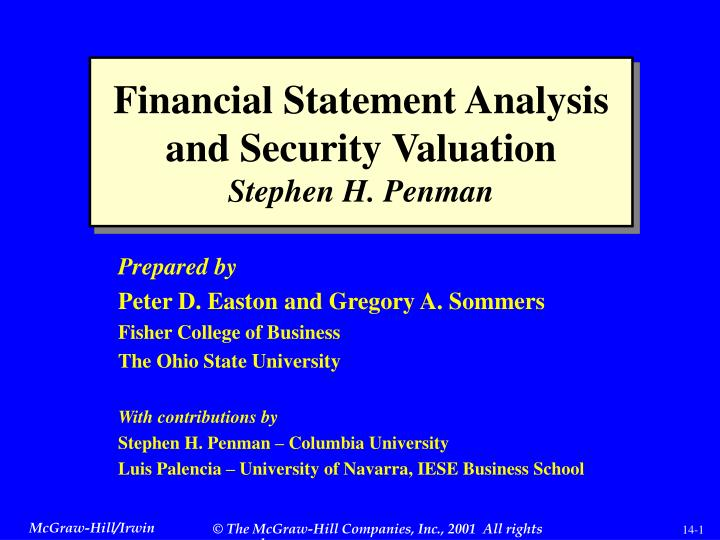financial statement analysis and security valuation stephen h penman n.