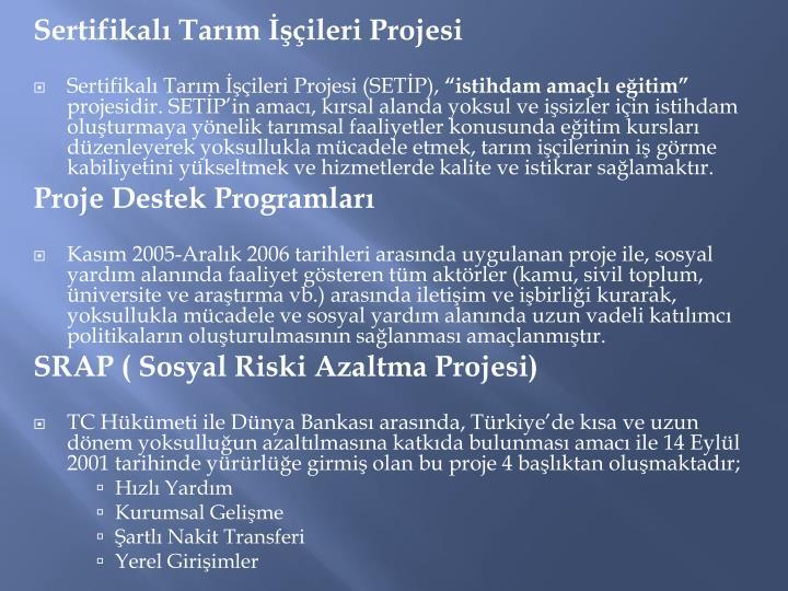 Sertifikalı Tarım İşçileri Projesi