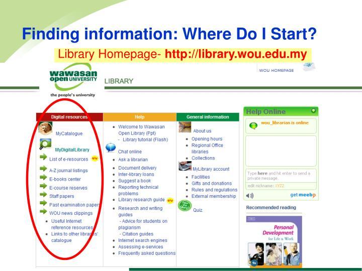 Finding information: Where Do I Start?