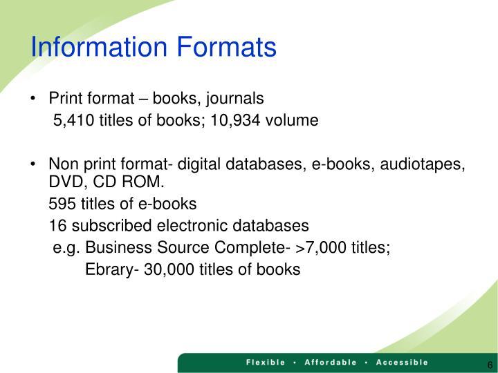 Information Formats