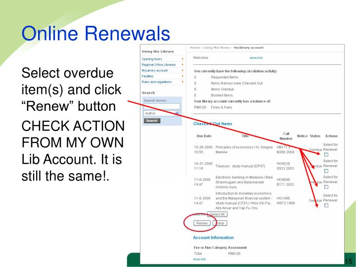 """Select overdue item(s) and click """"Renew"""" button"""