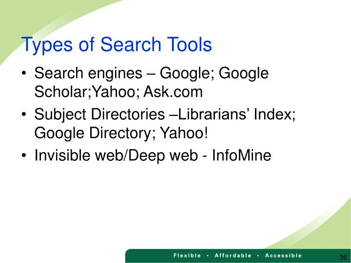 Types of Search Tools
