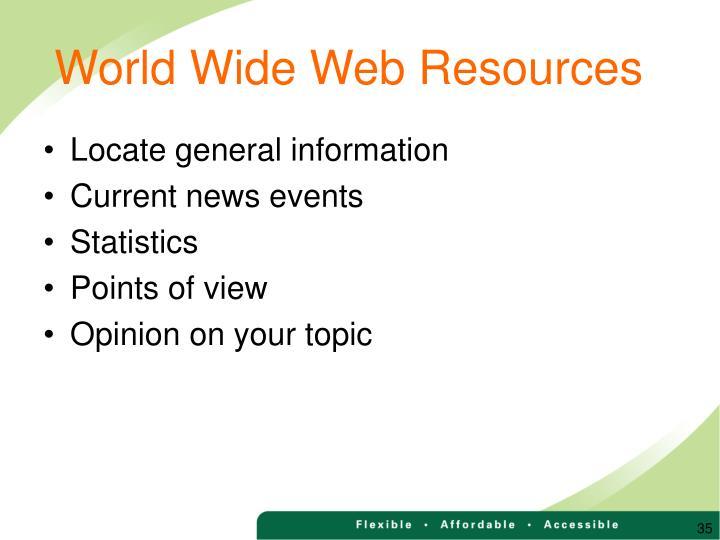 World Wide Web Resources