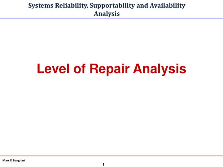 systems reliability supportability and availability analysis n.