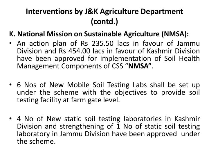 Interventions by J&K Agriculture Department (contd.)