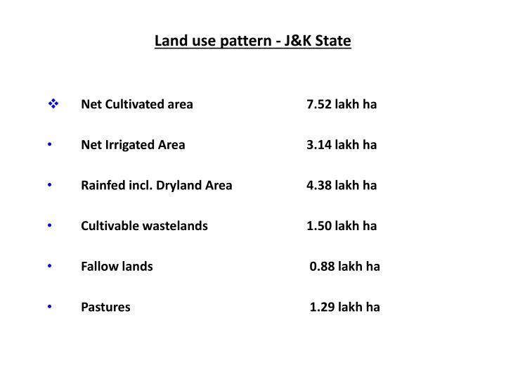 Land use pattern j k state