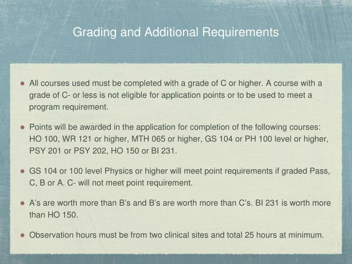 Grading and Additional Requirements