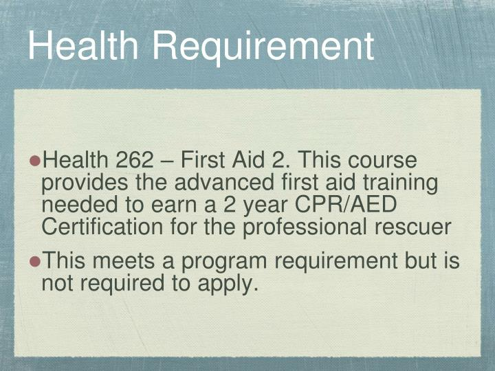 Health Requirement